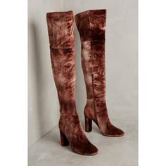 Silent D Ombre Velvet Over-The-Knee Boots ($148) ❤ liked on Polyvore featuring shoes, boots, brown, side zip boots, brown over-the-knee boots, velvet boots, above the knee boots and brown thigh high boots