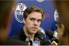 Edmonton Oilers Connor McDavid: the who was first pick in the 2015 draft, didn't specify how soon he could be back, but said he was pain free and on the way to returning to the Oilers' lineup. Leafs Game, Connor Mcdavid, Bobby Orr, Hockey Training, Wayne Gretzky, Toronto Star, Edmonton Oilers, Best Player, Lineup