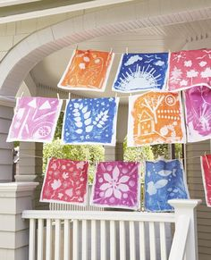 Using the sun's light and treated fabric, your child can make a print of her favorite specimens.