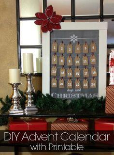 {DIY} Christmas Advent Calendar with FREE Chalkboard Printable