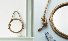 DIY Rope Mirror and other rope projects! Sisal, Beach Crafts, Diy Crafts, Hemp Crafts, Rope Mirror, Industrial Farmhouse Decor, Nautical Bathrooms, Repurposed Items, Decoration