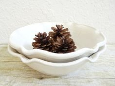 Nesting Bowls in White Set of Two Stoneware Pottery Serving Dishes on Etsy, $41.00