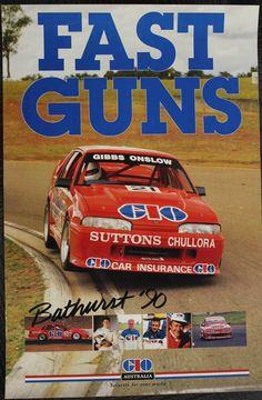GIO Australia Poster Bathurst 1990 Holden VL Commodore SS Group A Memorabilia Mount Panorama, V8 Supercars, Australian Cars, Car Insurance, Touring, Race Cars, Super Cars, Ss, Racing