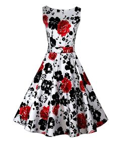 Luouse Vintage 1950's Floral Spring Garden Party Picnic Dress at Amazon Women's Clothing store: