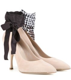 Miu Miu - Suede pumps - We're smitten with these pointed pumps from Miu Miu. The contrasting black and gingham ribbon ties give the classic silhouette an elegant lift, while the suede finish to the upper locks in that chic edge the brand is revered for. Let them update a winning workwear ensemble. seen @ www.mytheresa.com