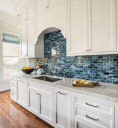 Artistic Designs for Living | Blue and White Kitchen with Beautiful Tile Kitchen Colors, Kitchen Decor, Dream Rooms, Backsplash, Home Projects, Blue And White, Kitchen Cabinets, Room Decor, Kitchen Cabinetry