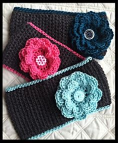 Crochet Headband Simply Wide Ear Warmer 1 - MATERIALS: Size H crochet hook WW yarn- Caron Simply Soft used here 2 Buttons: 1 inch button for flower Bonnet Crochet, Crochet Headband Pattern, Crochet Beanie, Crochet Hooks, Crochet Baby, Free Crochet, Knit Crochet, Knit Headband, Baby Headbands