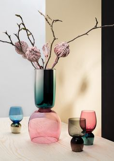 """Sacha Walckhoff for Czech glass manufacturer Verreum. """"Reverso"""", a collection of mouth blown silvered table accessories like glasses and vases in different sizes and colors.  #Verreum #SachaWalckhoff #MO15 #Glass #MouthBlown #Tableware #InteriorDesign #ObjektInternational"""