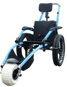 Hippocampe All-Terrain Beach Wheelchair - goes where wheelchairs strollers and pushchairs can't! On beaches, in the sea, ski through the snow. For children and adults with disabilities.