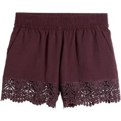 Lace-trimmed Cotton Shorts $24.99 ($25) ❤ liked on Polyvore featuring shorts, lace-trim shorts, cotton shorts and elastic shorts