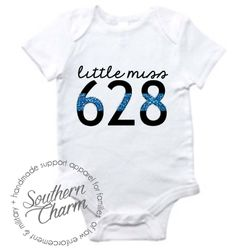 Southern Charm Designs - Little Miss Badge Number Infant Top, $17.00 (http://www.shopsoutherncharmdesigns.com/little-miss-badge-number-infant-top/)