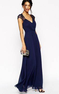 2160dd41525f A-Line Cap-Sleeve Floor-Length V-Neck Lace Chiffon Bridesmaid Dress With  Ruching - Wedding Guest Dresses