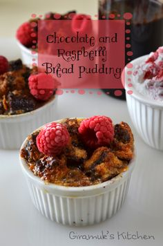 Chocolate Raspberry Bread Pudding | The Flavor Bender A delicious and easy dessert for the whole family! Made with Chocolate babka, but can be made with any bread and any chocolate (And Nutella!)