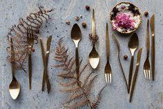 Gold Cutlery Still Life by NadineGreeff | Stocksy United