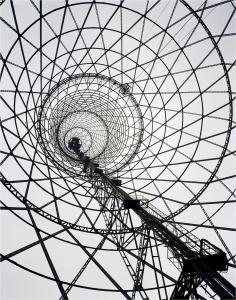 Fotografia de Rodchenko de 1927. Estructura de torre de radio de Moscou