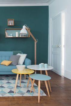 Tables gigognes Fjord, en bois, 3 tailles et couleurs différentes, 99 euros le set de 3, Maisons du Monde.