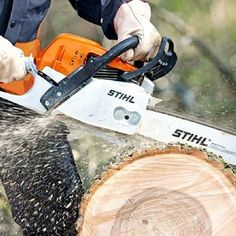 The #Stihl brand of chainsaws are probably the best all-round chainsaws that money can buy! This pinterest pin shows a typical picture of a Stihl chainsaw being put to use for tough logging work (probably somewhere in the UK like in Chesterfield, Leicester, Nottingham, or in #Sheffield?). Note the Stihl protective safetywear being used too!  http://www.finditlocaldirectory.co.uk/stihl-landscaping-machinery.html