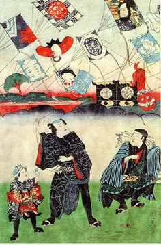 UKIYOE by Kunisada Baido Rising kite with Kabuki star