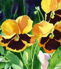 Daily Watercolors: Yellow Pansies