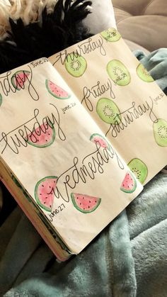 June daily layout in my 2018 bullet journal #bulletjournal #bulletjournaling #bujo #bujoing #bujoinspire #planner #journal #journaling #cursive #fruits #watermelon #kiwi #watercolor #dressesideas