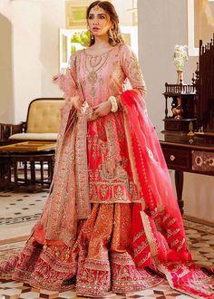 Pakistani Wedding Outfits, Pakistani Wedding Dresses, Pakistani Dress Design, Indian Dresses, Indian Outfits, Pakistani Gharara, Latest Pakistani Dresses, Pakistani Mehndi, Indian Bollywood