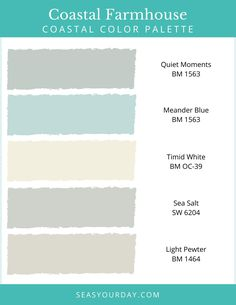 Perfect colors for a coastal inspired home. Use this beautiful palette when you not sure where to begin. Coastal Farmhouse, Coastal Cottage, Coastal Homes, Coastal Style, Coastal Decor, Farmhouse Style, Farmhouse Decor, Coastal Bedrooms, Farmhouse Plans