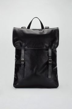 Beautiful black leather backpack, timeless and understated design.