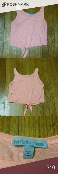 Salmon crop top S: Small, vibrant salmon colored crop top, stops a little above my belly button Charlotte Russe Tops Crop Tops