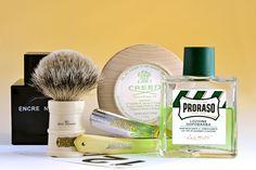 "Creed Green Irish Tweed shave soap, Simpson Milk Churn badger brush, Friedellko 5/8"" ""Saturday"" straight razor, Proraso Green aftershave, Lalique Encre Noir cologne, September 12, 2015.  ©Sarimento1"