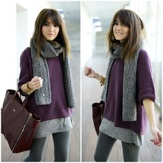 Designer Clothes, Shoes & Bags for Women Winter Sweater Outfits, Fall Outfits, Casual Outfits, Fashion Outfits, Cute Medium Length Hairstyles, Wavy Bob Hairstyles, Long Length Hair, Long Hair With Bangs, Cute Haircuts