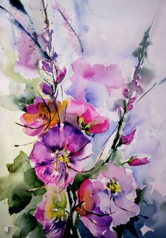 Hollyhocks watercolor - Passerose (Boyama), 26x36 cm Véronique Piaser-Moyen…