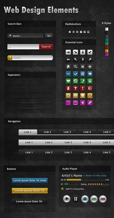 Free UI PSD Web Elements For Designers - Dark Mysterious Web Elements