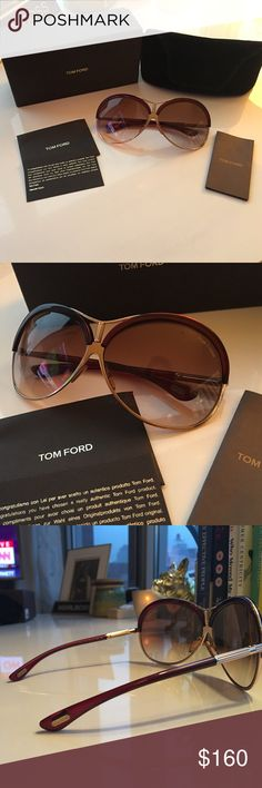 Tom Ford Valesca SunglassesLike New! No Scratches GORGEOUS Tom Ford Valesca Sunglasses! Like New! No Scratches! This is color 211 if you want to google it. Burgundy and Gold. The color is gorgeous! Comes with Original box, Original Case and Authentication card. These were originally $364 from Bloomingdale's. Worn a few times. I can't even believe I am selling them these cheap but I have a MAJOR sunglasses collection and must downsize. My loss is your game. I checked online and they are…