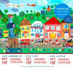 Create your own charming kid's room and shop more, SAVE more through July 7th at Oopsy Daisy, Fine Art For Kids. Save 20%, 15%, or 10% today! Celebrate this fun summer holiday and shop our triple 4th of July Sale.