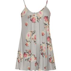 WearAll Plus Size Strappy Sleeveless Floral Print Swing Dress (€19) ❤ liked on Polyvore featuring dresses, grey, swing dress, floral swing dress, sleeveless swing dress, grey dress and plus size dresses