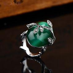 KCALOE Vintage Earrings Rings For Women Jewellery Set Green Big Opal Stone Black Crystal Rhinestone Jewelry Sets Brinco Grande