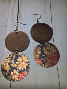 Copper/Daisy Print leather double circle earrings