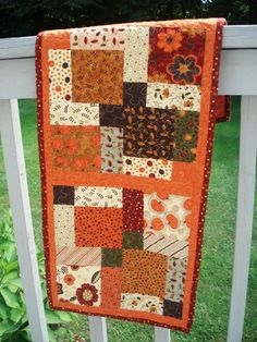 I forgot how satisfying it is to make a table runner. It takes far less time to finish than any quilt, and quilting it doesn't incite any sw. by vicky Patchwork Table Runner, Table Runner And Placemats, Table Runner Pattern, Quilted Table Runners, Fall Table Runner, Thanksgiving Table Runner, Halloween Table Runners, Thanksgiving Parties, Thanksgiving Decorations