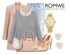 """""""Grey Sweater ROMWE"""" by milovanovic ❤ liked on Polyvore featuring H&M, Miss Selfridge, Michael Kors, Rupert Sanderson, Cara, women's clothing, women, female, woman and misses"""
