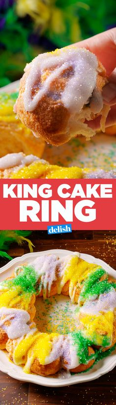 The surprise inside of this king cake ring will make your mardis gras taste so much better. Get the recipe on Delish.com.