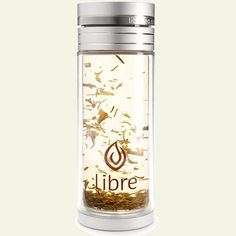 Libre Loose Leaf Tea Mug: 14 oz Thermal Double Walled Glass and Polycarbonate Water Bottle with Stainless Steel Tea Filter. Steep and go! #Tea_Infuser_Mug