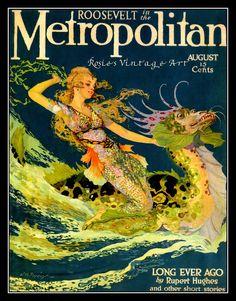 Vintage Metropolitan Magazine Cover Mermaid and Serpent September ca 1920 TruGiclee Art Print. $18.00, via Etsy.
