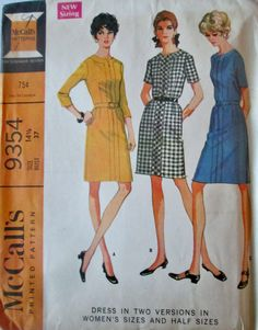 McCalls 9354 Women's 60s Sewing Pattern Bias Dress in Two Versions Bust 37