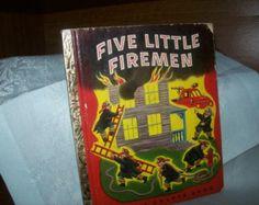 Rare Five Little Firemen 1949 A little golden book