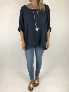 Lagenlook Mindy Short Layer Top in Navy . code 5805