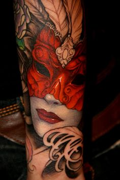By Jeff Gogue. Want a masked woman incorporated with the flowers on my next sleeve