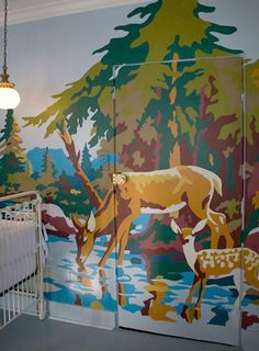 paint by number wall  ...fun @meanwhileinfl.  Don't love the deer, but another scene  might be great fun to do.