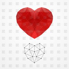 Polygonal wireframe heart, 63034, Icons and Emblems,  Download, Free, Vector, eps, clip art, graphics