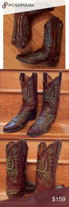 TODAY! 👢HOT Lucchese Embroidered Cowgirl Boots👢 Amazing gently preloved Lucchese boots from my personal collection. If you've never tried Lucchese you must and you will NEVER go back to any other! Broken in, well cared for, and ready to rock! Lucchese Shoes Heeled Boots