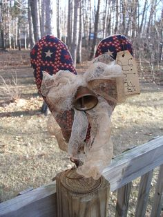 PrimiTive Grungy Americana Heart Patriotic Tree Topper LIBERTY Bell DecoraTion #Americana #melissaharmon